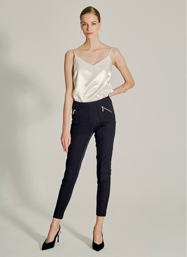 NGSTYLE Fermuar Detaylı Skinny Pantolon Siyah